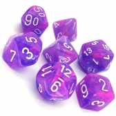 Purple & White Wild Polyhedral 7 Dice Set